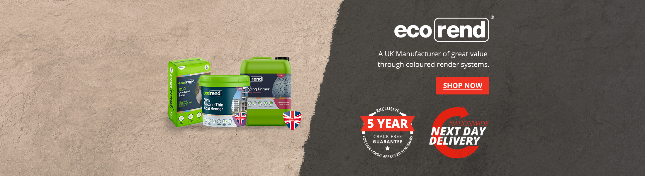 UK's Leading Manufacture in Coloured Render System Eco Rend available at Rendit