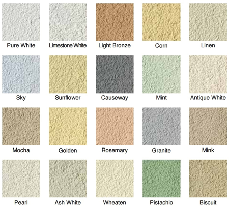 Image of a colour chart that showcases the range of colours that the K Rend Primer TC 15kg is available in.