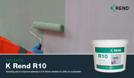 Image the K Rend R10 Bonding Aid being applied to a wall, with an image of the product and a description.