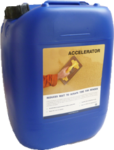 Image of a tall, rectangular bottle with details advertising the K Rend Accelerator 20L.