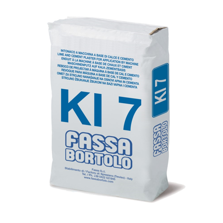 The Fassa K17 base coat is a fibre reinforced lime/cement base coat plaster