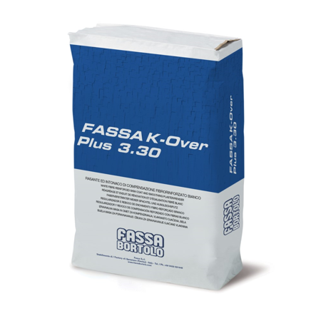 The Fassa K-Over PLus 3.30 is a white fibre-reinforced skim coat and smoothing plaster/render.